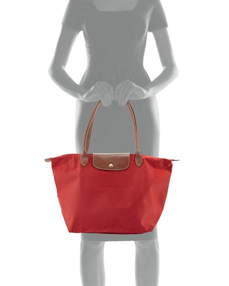 Le Pliage Large Monogram Shoulder Tote Bag, Deep Red