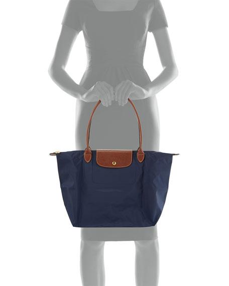 Le Pliage Large Monogram Shoulder Tote Bag, New Navy