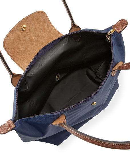 Le Pliage Medium Monogram Shoulder Tote Bag, New Navy