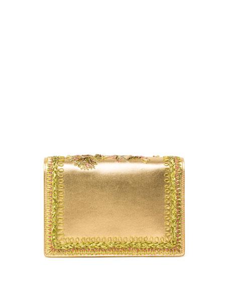 Miss Viv Floral Metallic Leather Micro Shoulder Bag, Gold