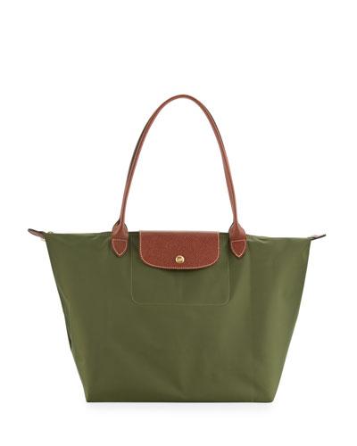 Le Pliage Large Shoulder Tote Bag, Khaki