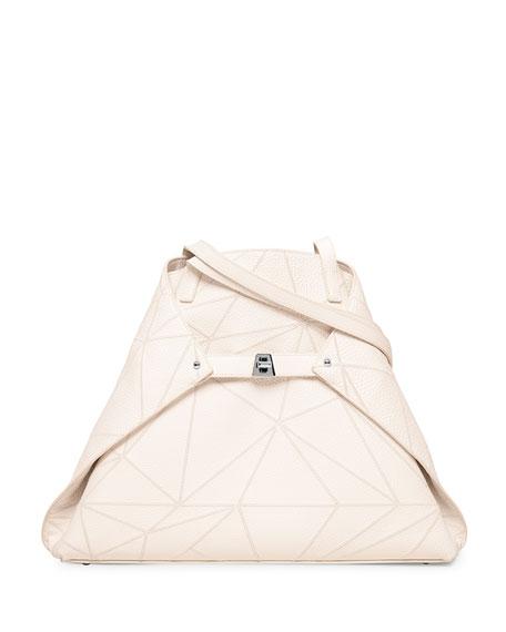 Akris Ai Medium Naoshima-Embroidered Shoulder Bag, White