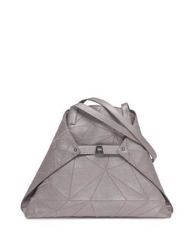 Ai Medium Leather Shoulder Bag, Gray Metallic