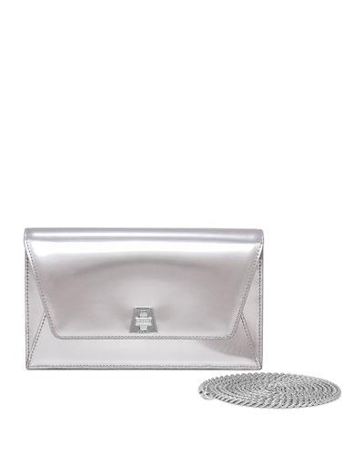 Anouk Leather Envelope Clutch Bag, Silver Metallic