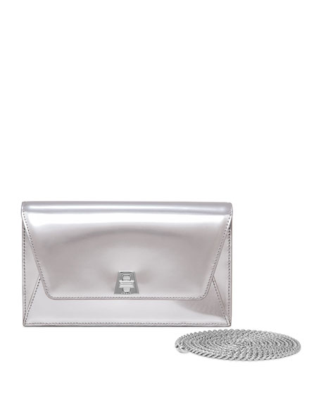 Akris Anouk Leather Envelope Clutch Bag, Silver Metallic