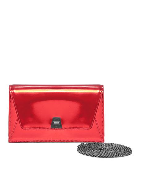 Akris Anouk City Small Leather Envelope Clutch Bag, Scarlet Metallic