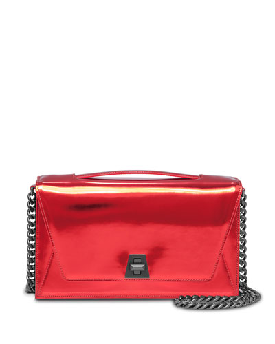Anouk City Leather Envelope Clutch Bag, Scarlet Metallic