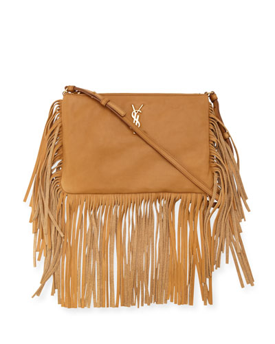 Monogram Leather Fringe-Edge Crossbody Bag, Tan