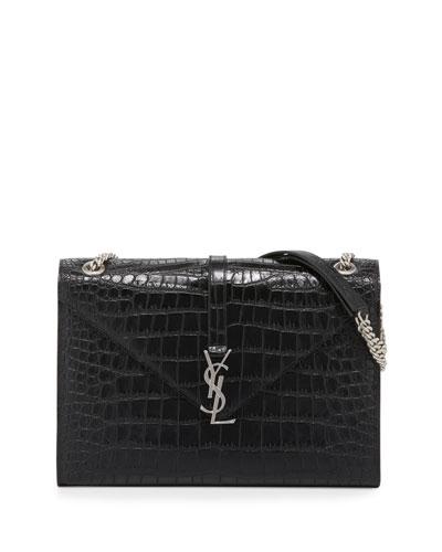 Monogram Large V-Flap Chain Shoulder Bag, Black