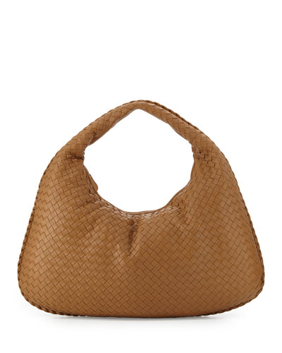 Veneta Intrecciato Large Hobo Bag, Camel