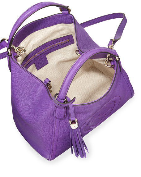 Gucci Soho Leather Shoulder Bag, Purple