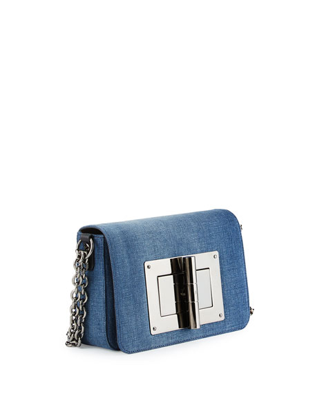 Natalia Medium Chain Crossbody Bag, Denim