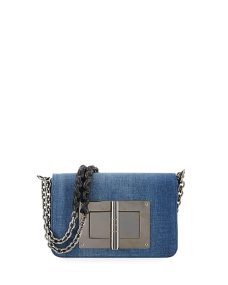 Natalia Medium Chain Crossbody Bag, Denim