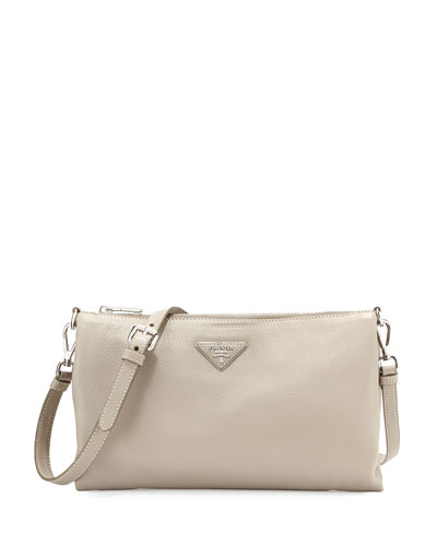 Vitello Daino Crossbody Bag, Gray (Pomice)