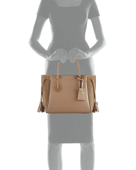 Penelope Small Leather & Suede Tote Bag, Taupe