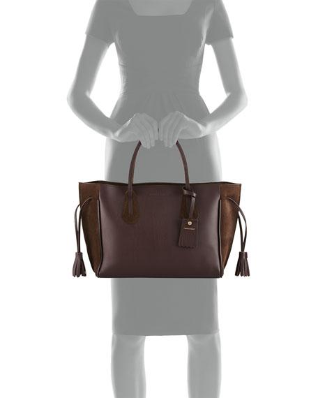 Penelope Medium Leather & Suede Tote Bag, Ebony