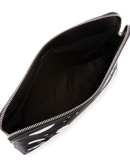 31 Minute Zip Cosmetics Bag, White/Black