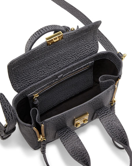 Pashli Mini Leather Satchel Bag, Ash/Charcoal