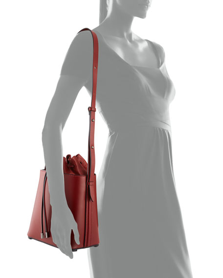 Hana Leather Drawstring Bucket Bag, Brick