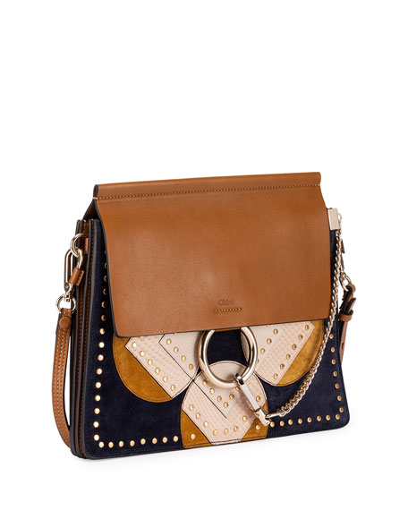 Faye Medium Flower Python Patchwork Shoulder Bag, Brown/Multi