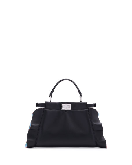 Peekaboo Mini Wave Leather Satchel Bag, Black/Turquoise