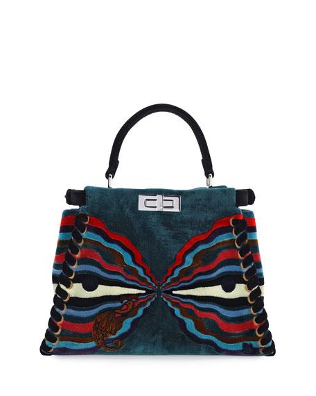 Peekaboo Medium Embroidered Velvet Bag, Black Multi
