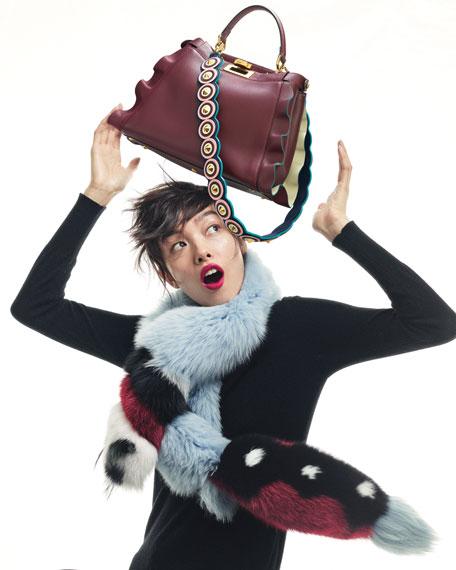 Fendi Strap You Circle Studded Shoulder Strap for Handbag, Navy/Pink