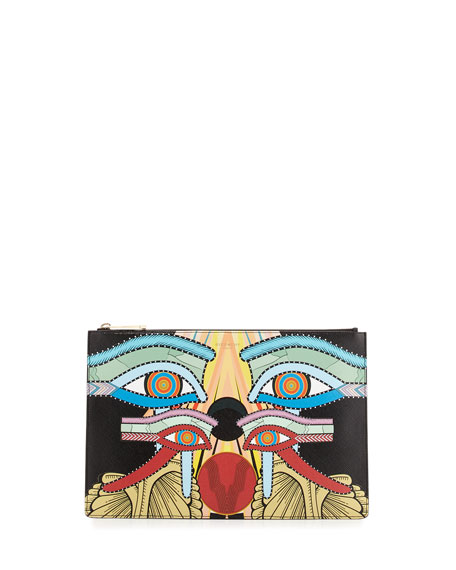 Medium Egyptian Four Eyes Pouch Bag, Multi