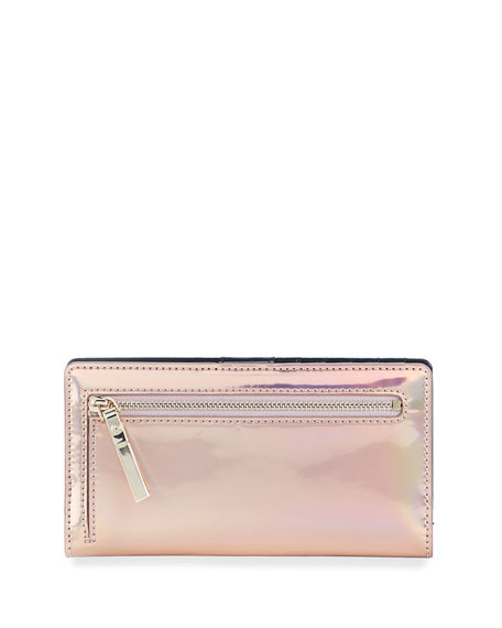 ranier lane stacy iridescent wallet, rose gold