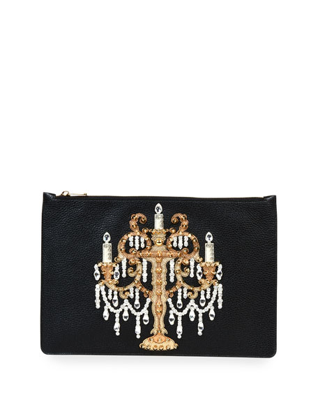 Dolce & Gabbana Large Leather Chandelier Pouch, Black
