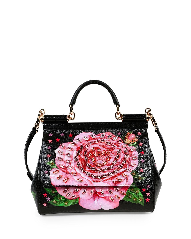 Dolce   Gabbana Miss Sicily Medium Leather Rose Satchel Bag   Neiman ... 7718d597c5