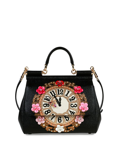 Miss Sicily Medium Leather Clock Satchel Bag, Black