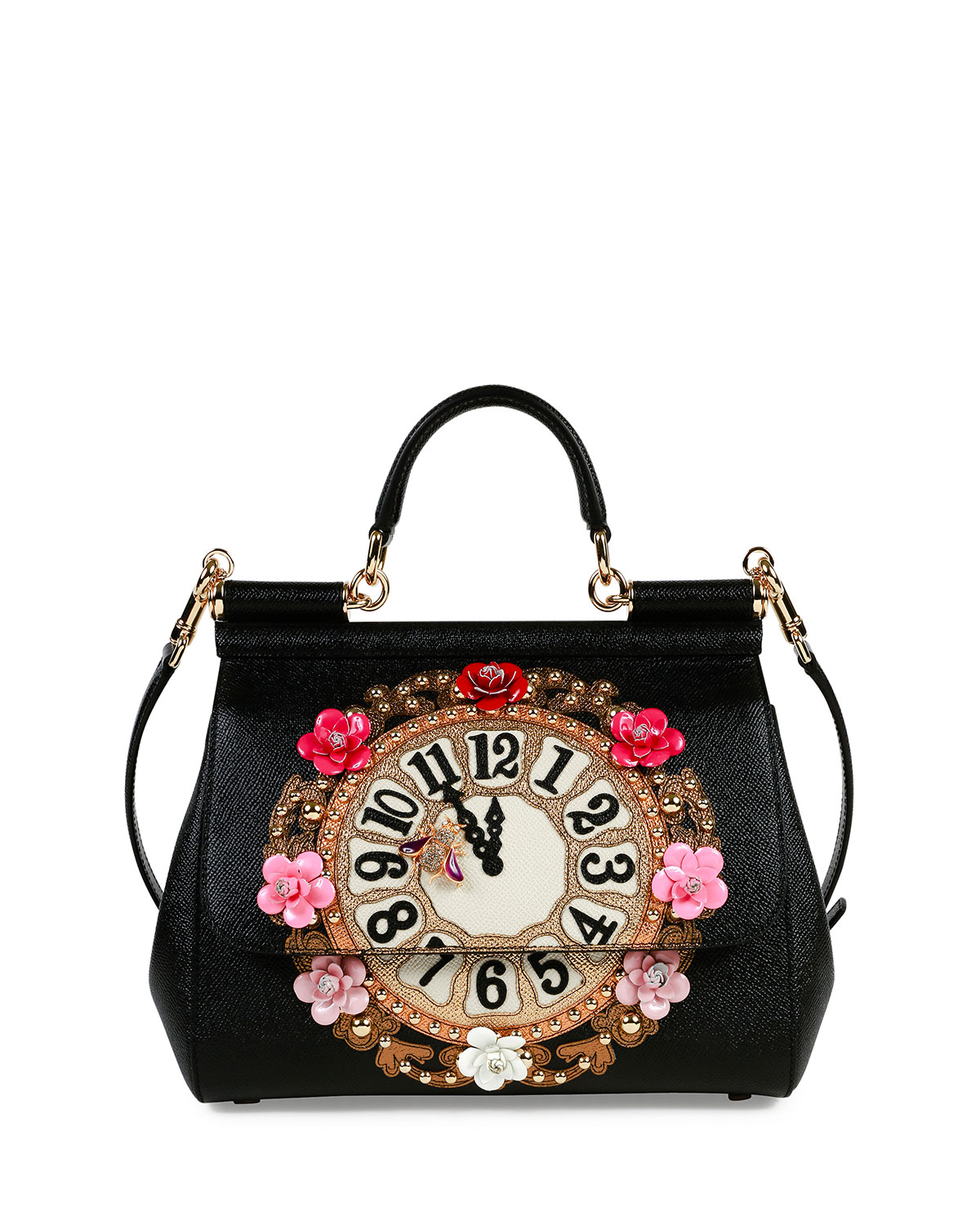 e13bb5b697 Dolce   Gabbana Miss Sicily Medium Leather Clock Satchel Bag