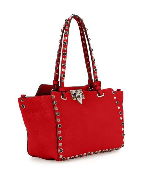 Rockstud Rolling Small Tote Bag, Red