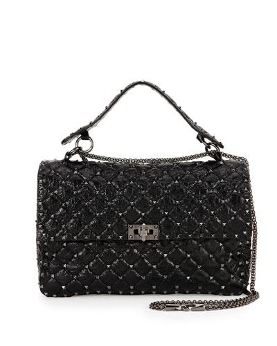Rockstud Matelasse Large Shoulder Bag, Black