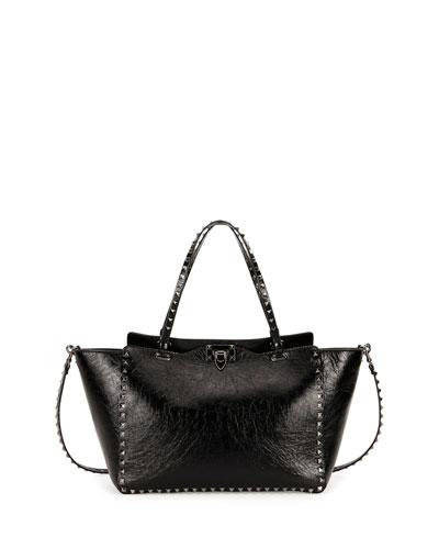 Medium Leather Rockstud Tote Bag, Black