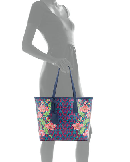 Little Marlborough Poppies Tote Bag, Dark Blue
