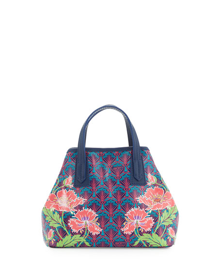Marlborough Poppies Mini Tote Bag, Navy
