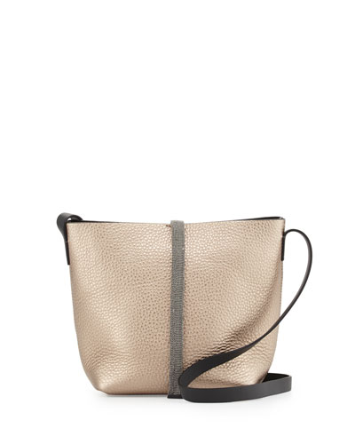 Monili-Stripe Medium Bucket Bag, Rose Gold