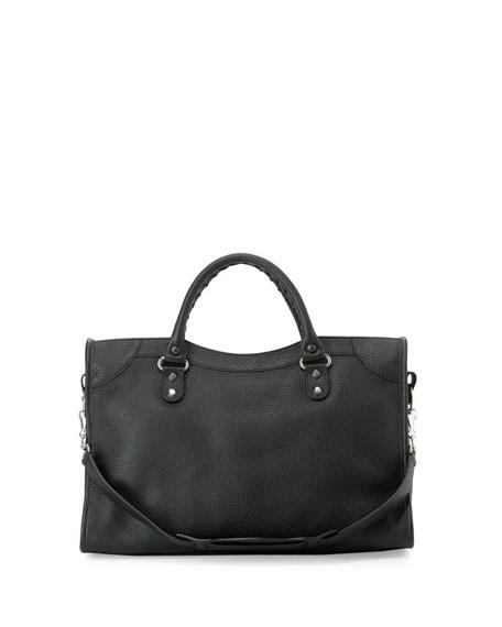 Classic City Calfskin Shoulder Bag, Black