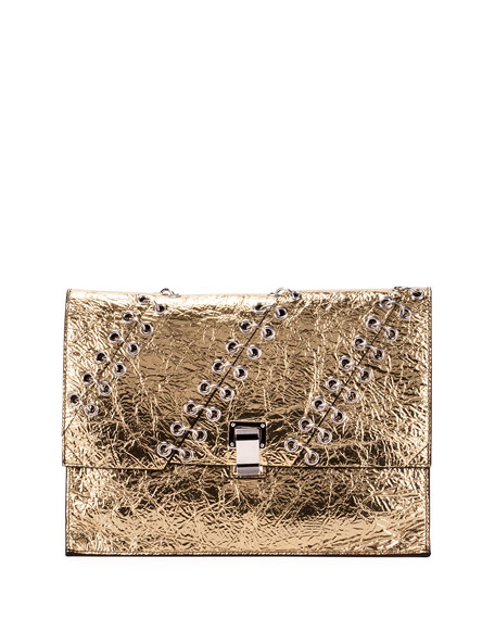 Proenza Schouler Large Metallic Leather Lunch Bag, Gold