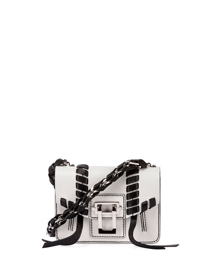 Hava Leather Chain Crossbody Bag, White/Black