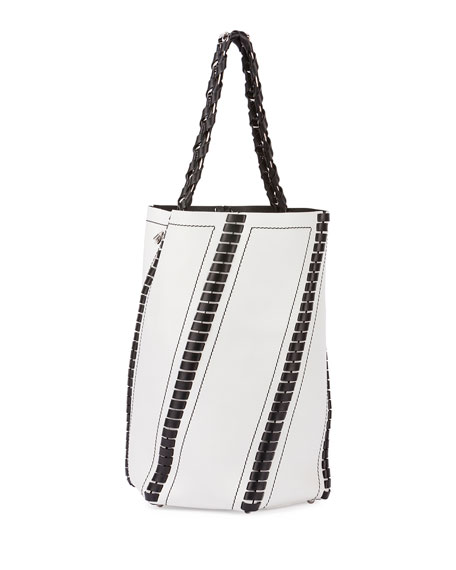 Hex Large Whipstitch Leather Bucket Bag, White/Black