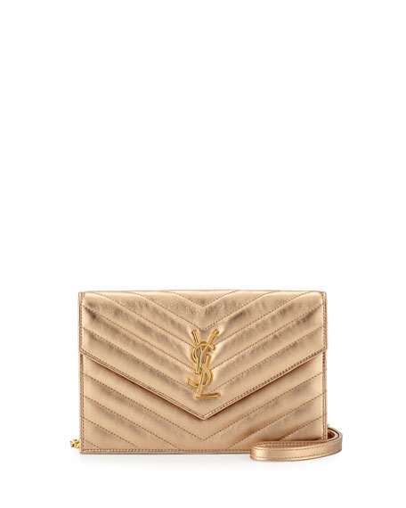 Saint Laurent Monogram Leather Small Wallet-On-Chain Bag, Light Blush