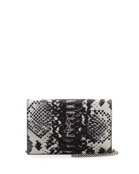Saint Laurent Monogram Leather Small Wallet-On-Chain, Black/White