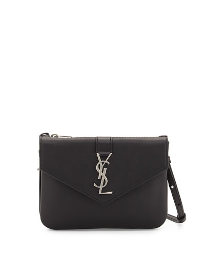 Tri-Pocket V-Flap Crossbody Bag, Black