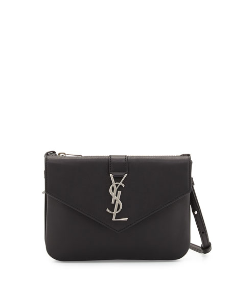 Saint Laurent Tri-Pocket V-Flap Crossbody Bag, Black