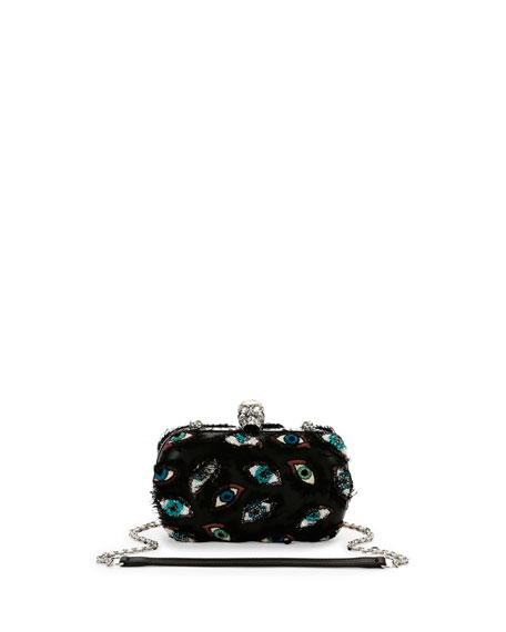Embroidered-Eye Classic Skull Clutch Bag, Multi