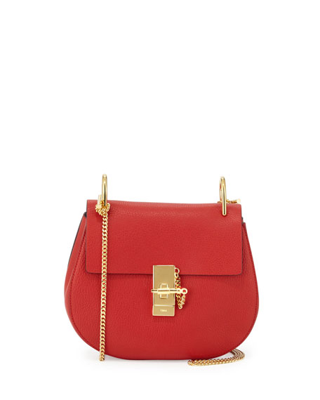 ChloeDrew Small Chain Saddle Bag, Red
