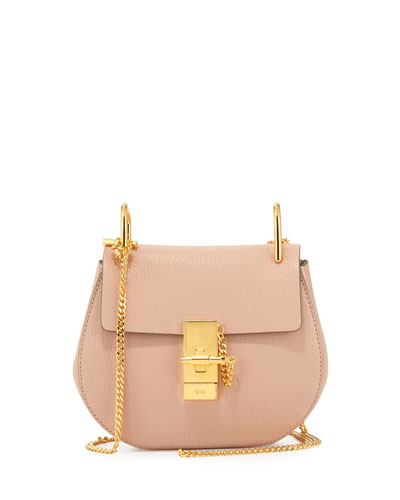 Chloe Drew Mini Lambskin Shoulder Bag, Cement Pink
